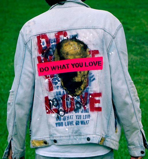 Do What You Love Jean Jacket hand painted by Sergey Gordienko