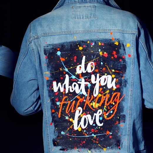 Do What You Fucking Love - Jeans Jacket hand painted by Sergey Gordienko