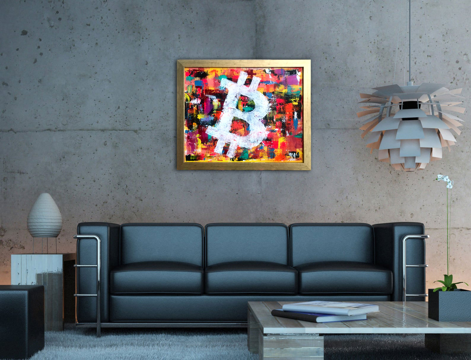 Bitcoin Art Acrylic Painting by Sergey Gordienko